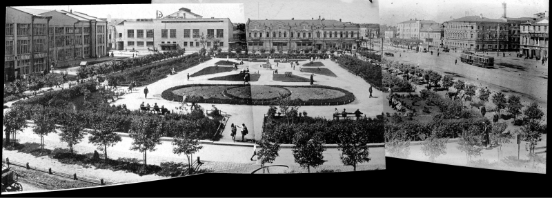 Панорама сквера на площади 1905 года в 1932 году
