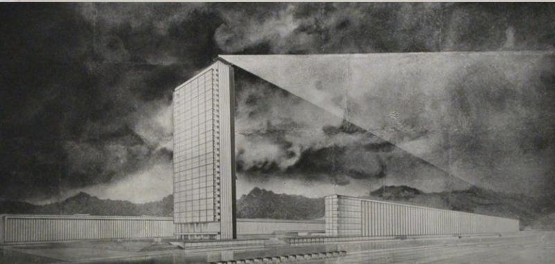 Несостоявшийся первый в СССР небоскреб высотой 140 метров. Проект 1931 года.