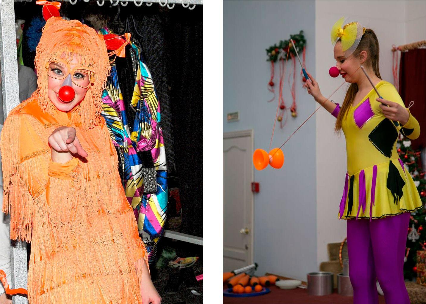 Слева — худрук Катя Филатова за кулисами перед номером «Танец инопланетян». Справа — Вика с номером «Диаболо» в летнем школьном лагере