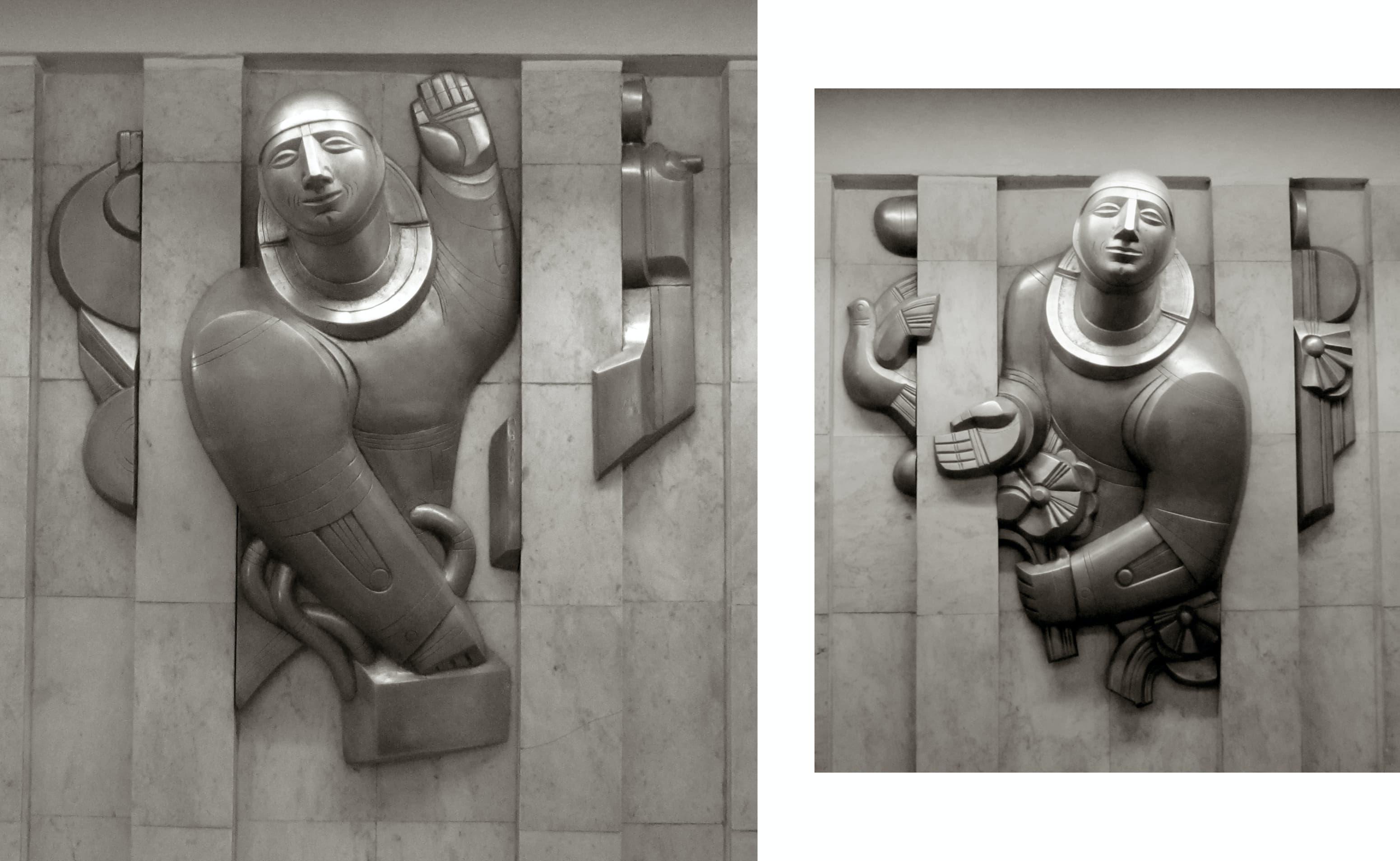 Борис Клочков, рельефы «Встреча» и «Прощание» в фойе станции «Проспект Космонавтов»