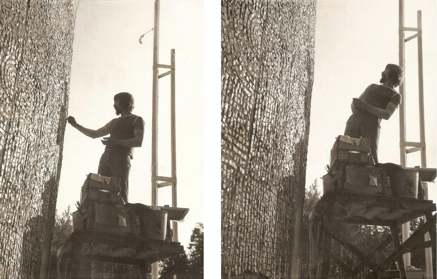 Борис Клочков на объекте, работа над мозаикой в лагере «Время вперёд»